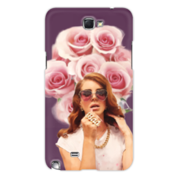 """Чехол для Samsung Galaxy Note 2 """"Lana Del Rey"""" - портрет, розы, lana del rey, лана дель рей"""