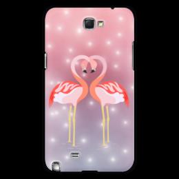 "Чехол для Samsung Galaxy Note 2 ""Влюбленные фламинго"" - любовь, фламинго"
