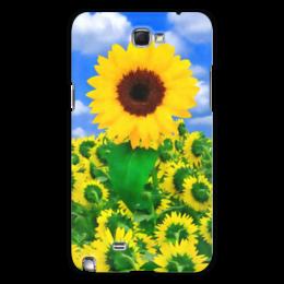 """Чехол для Samsung Galaxy Note 2 """"Подсолнух"""" - лето, цветок, небо, облака, подсолнух"""