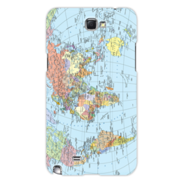 """Чехол для Samsung Galaxy Note 2 """"Карта мира"""" - мир, страны, карта, политика, география"""