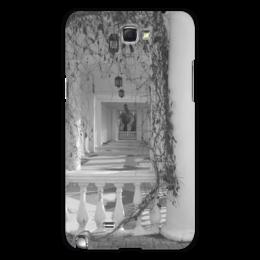 """Чехол для Samsung Galaxy Note 2 """"Осень"""" - осень, архитектура, фонари, пустой дом, колонна и растение"""