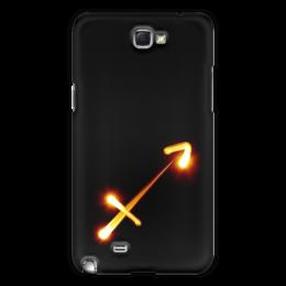 """Чехол для Samsung Galaxy Note 2 """"Стрельцу (22.11-21.12)"""" - черно-белый, минимализм, стрелец"""