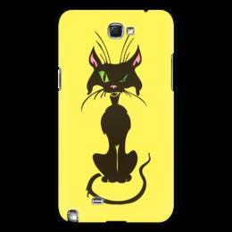 """Чехол для Samsung Galaxy Note 2 """"Черный кот"""" - кот, глаз, зеленый, хвост, нос"""