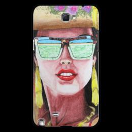 """Чехол для Samsung Galaxy Note 2 """"Девушка в очках"""" - арт, девушка, лето, море, очки"""