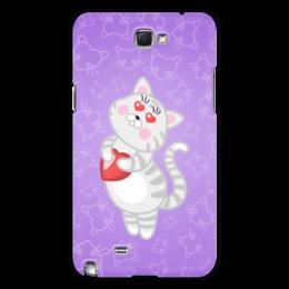 """Чехол для Samsung Galaxy Note 2 """"Влюбленная кошечка"""" - сердце, любовь, кошка, фиолетовый"""