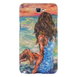 """Чехол для Samsung Galaxy Note 2 """"Мечты сбываются"""" - любовь, арт, девушка, романтика, море, в подарок, оригинально, закат, sunset, dreams"""