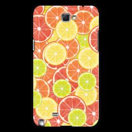 """Чехол для Samsung Galaxy Note 2 """"Цитрусы"""" - апельсин, лайм, лимон, грейпфрут, дольки"""