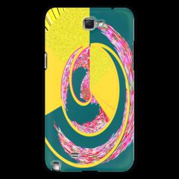 """Чехол для Samsung Galaxy Note 2 """"Спираль"""" - спираль, желтый, зеленый, розовый, кольца"""