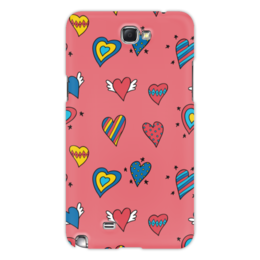"Чехол для Samsung Galaxy Note 2 ""Heart doodles"" - сердечки, hearts, love, 14 февраля"
