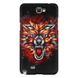 "Чехол для Samsung Galaxy Note 2 ""Wolf & Fire"" - огонь, волк, fire, дым, wolf"
