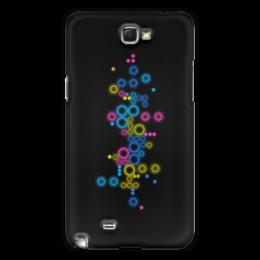 """Чехол для Samsung Galaxy Note 2 """"Психоделика 2"""" - пузырьки, цвет, абстракция, чёрный фон"""