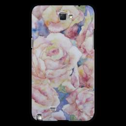 """Чехол для Samsung Galaxy Note 2 """"Розы. Нежность"""" - розовый, оригинальный, нежный, акварелью, цвнток"""