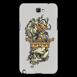 "Чехол для Samsung Galaxy Note 2 ""Череп и лев"" - череп, лев, корона"