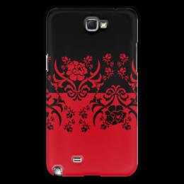 """Чехол для Samsung Galaxy Note 2 """"Красно-черное"""" - цветы, узор, черный, красный, орнамент"""