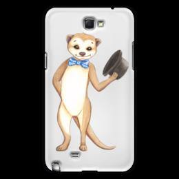 """Чехол для Samsung Galaxy Note 2 """"Вежливый сурикат"""" - животные, шляпа, приветствие, зверек, сурикат"""