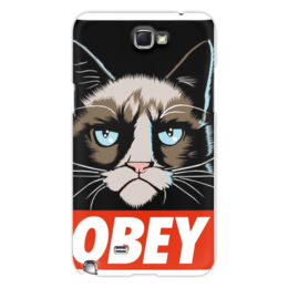 "Чехол для Samsung Galaxy Note 2 ""OBEY(1)"" - кот, cat, obey, grumpy, повиноваться"
