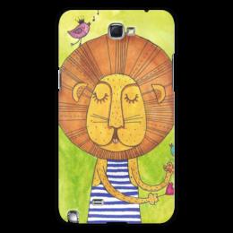 """Чехол для Samsung Galaxy Note 2 """"Лев Бонифаций в тельняжке"""" - лев, акварель, грива, бонифаций, тельняжка"""
