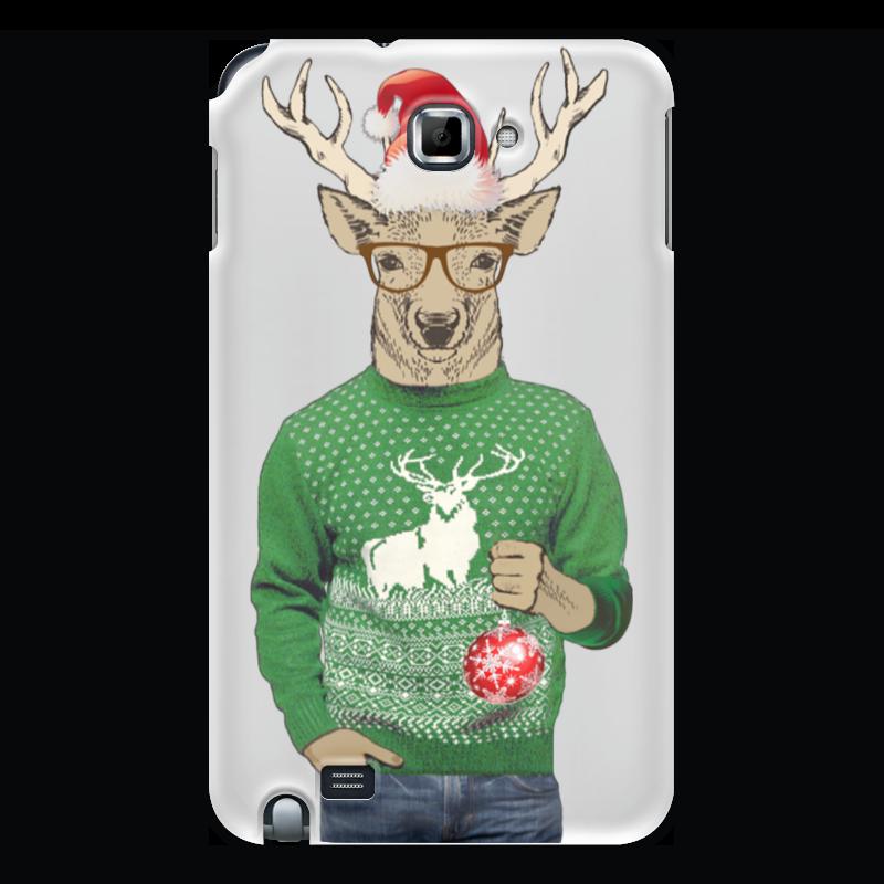 Чехол для Samsung Galaxy Note Printio Олень новогодний в свитере и очках с шариком цена и фото