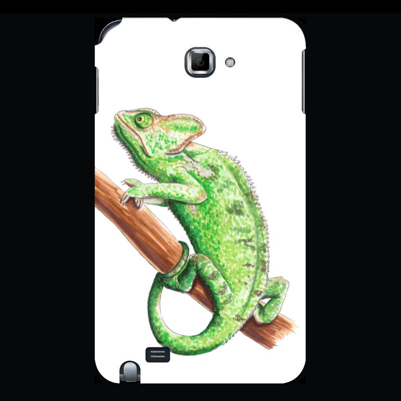 лучшая цена Чехол для Samsung Galaxy Note Printio Зеленый хамелеон на ветке