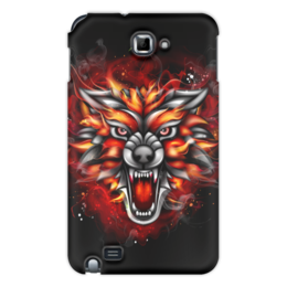 "Чехол для Samsung Galaxy Note ""Wolf & Fire"" - огонь, волк, fire, дым, wolf"