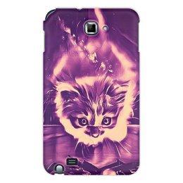 """Чехол для Samsung Galaxy Note """"Fire cat"""" - животные, ночь, яркий, дизайнерский, интересный"""