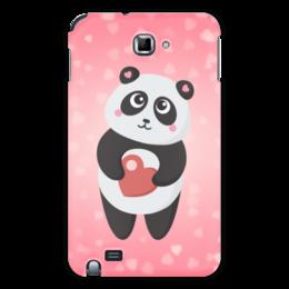 """Чехол для Samsung Galaxy Note """"Панда с сердечком"""" - любовь, панда, розовый, сердечки"""