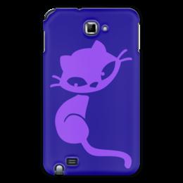 """Чехол для Samsung Galaxy Note """"Кошечка"""" - кот, фиолетовый, синий, кошечка, сидит"""