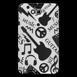 """Чехол для Samsung Galaxy Note """"Музыка"""" - музыка, гитара, наушники, ноты, кассеты"""