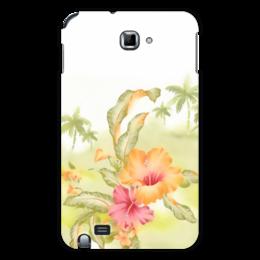 """Чехол для Samsung Galaxy Note """"Тропические цветы, пальмы."""" - цветок, пальма, акварель, тропики, зеленое"""