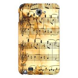 """Чехол для Samsung Galaxy Note """"Мелодия"""" - музыка, ноты, песня, мелодия, газета"""