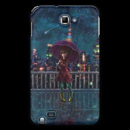 """Чехол для Samsung Galaxy Note """"Ночной дождь"""" - город, космос, ночь, аниме, звёзды"""