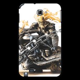"""Чехол для Samsung Galaxy Note """"Скелет"""" - череп, скелет, огонь, мотоцикл, гонщик"""