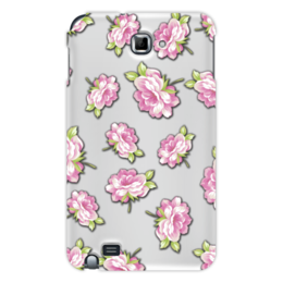 """Чехол для Samsung Galaxy Note """"Цветы"""" - лист, зеленый, розовый, пионы, розы"""