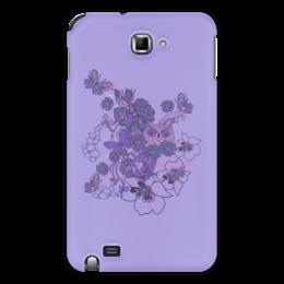 """Чехол для Samsung Galaxy Note """"Сова в цветах"""" - бабочка, цветок, сиреневый, лист, сова"""