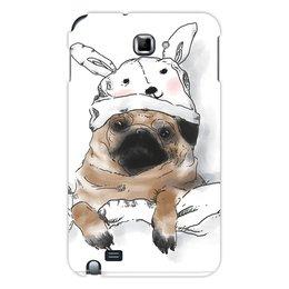 """Чехол для Samsung Galaxy Note """"Мопс в шапочке"""" - заяц, пес, щенок, собака, мопс"""