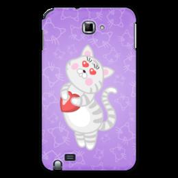 """Чехол для Samsung Galaxy Note """"Влюбленная кошечка"""" - сердце, любовь, кошка, фиолетовый"""