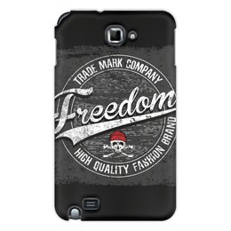 "Чехол для Samsung Galaxy Note ""Freedom"" - череп, логотип, freedom, компания, trade mark company"