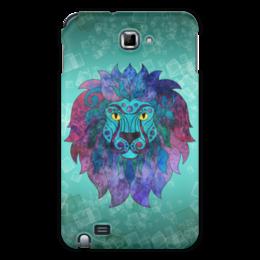 """Чехол для Samsung Galaxy Note """"Яркий лев"""" - лев, графика, синий, яркий лев"""