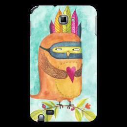 """Чехол для Samsung Galaxy Note """"Рыжая Сова Индеец"""" - сердце, любовь, сова, акварель, индеец"""