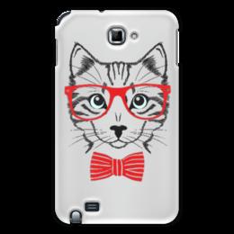 "Чехол для Samsung Galaxy Note ""Кошка"" - кошка, бабочка, красный, очки, cat"