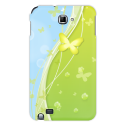 """Чехол для Samsung Galaxy Note """"Летний мотив"""" - бабочки, лето, небо, трава, мыльные пузыри"""