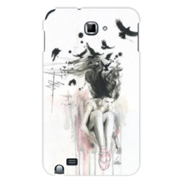 "Чехол для Samsung Galaxy Note ""Девушка и птицы"" - арт, girl, birds"