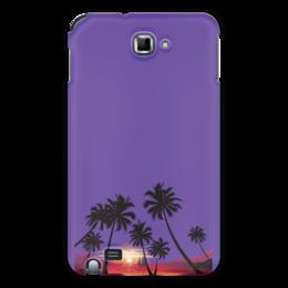 """Чехол для Samsung Galaxy Note """"Острова в океане"""" - море, закат, яхта, острова, пальмы"""