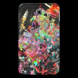 """Чехол для Samsung Galaxy Note """"Цветные чернила. Микс"""" - оригинальный, яркий, разноцветный, паттерн, черный фон"""