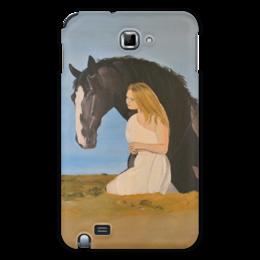 """Чехол для Samsung Galaxy Note """"Мария и Принц"""" - любовь, девушка, лошадь, природа, horse, конь"""