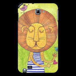 """Чехол для Samsung Galaxy Note """"Лев Бонифаций в тельняжке"""" - лев, акварель, грива, бонифаций, тельняжка"""