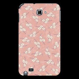 """Чехол для Samsung Galaxy Note """"Цветочный принт"""" - цветы, розовый, вишня, ветка, фон"""