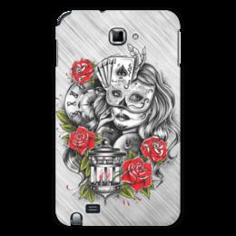 """Чехол для Samsung Galaxy Note """"Девушка"""" - девушка, карты, часы, маска, розы"""