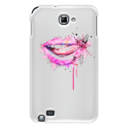 """Чехол для Samsung Galaxy Note """"Губы акварель"""" - губы, язык, рот, секси, акварельный рисунок"""