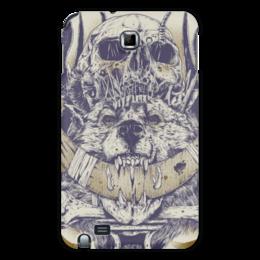"""Чехол для Samsung Galaxy Note """"Волк с черепом"""" - череп, кости, волк, демон, клыки"""